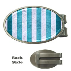 Stripes1 White Marble & Teal Brushed Metal Money Clips (oval)