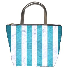 Stripes1 White Marble & Teal Brushed Metal Bucket Bags