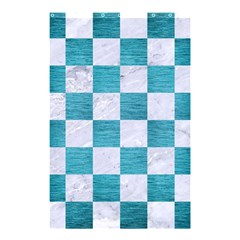 Square1 White Marble & Teal Brushed Metal Shower Curtain 48  X 72  (small)