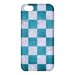 Square1 White Marble & Teal Brushed Metal Apple Iphone 5c Hardshell Case