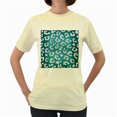 Skin5 White Marble & Teal Brushed Metal (r) Women s Yellow T Shirt
