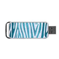Skin4 White Marble & Teal Brushed Metal Portable Usb Flash (two Sides)