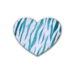 Skin3 White Marble & Teal Brushed Metal (r) Rubber Coaster (heart)