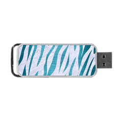 Skin3 White Marble & Teal Brushed Metal (r) Portable Usb Flash (two Sides)