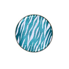 Skin3 White Marble & Teal Brushed Metal Hat Clip Ball Marker (4 Pack)