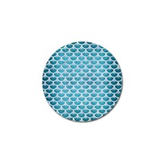 Scales3 White Marble & Teal Brushed Metal Golf Ball Marker