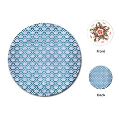 Scales2 White Marble & Teal Brushed Metal (r) Playing Cards (round)