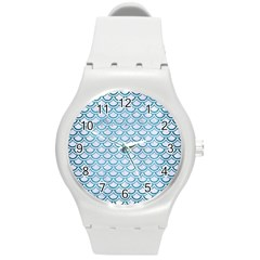 Scales2 White Marble & Teal Brushed Metal (r) Round Plastic Sport Watch (m)