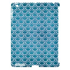 Scales2 White Marble & Teal Brushed Metal Apple Ipad 3/4 Hardshell Case (compatible With Smart Cover)