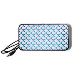 Scales1 White Marble & Teal Brushed Metal (r) Portable Speaker