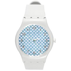 Scales1 White Marble & Teal Brushed Metal (r) Round Plastic Sport Watch (m)