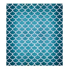 Scales1 White Marble & Teal Brushed Metal Shower Curtain 66  X 72  (large)