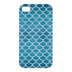 Scales1 White Marble & Teal Brushed Metal Apple Iphone 4/4s Premium Hardshell Case
