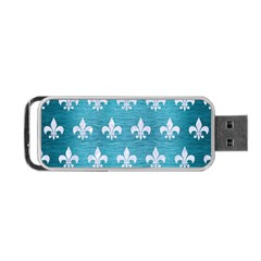 Royal1 White Marble & Teal Brushed Metal (r) Portable Usb Flash (two Sides)