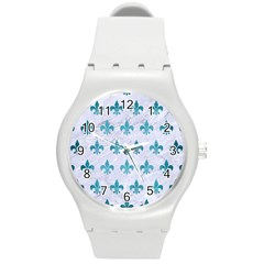 Royal1 White Marble & Teal Brushed Metal Round Plastic Sport Watch (m)