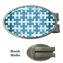 Puzzle1 White Marble & Teal Brushed Metal Money Clips (oval)