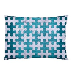 Puzzle1 White Marble & Teal Brushed Metal Pillow Case
