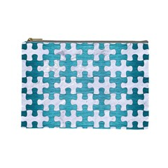 Puzzle1 White Marble & Teal Brushed Metal Cosmetic Bag (large)
