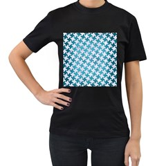 Houndstooth2 White Marble & Teal Brushed Metal Women s T Shirt (black) (two Sided)
