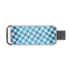 Houndstooth2 White Marble & Teal Brushed Metal Portable Usb Flash (one Side)