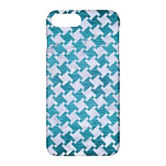 Houndstooth2 White Marble & Teal Brushed Metal Apple Iphone 7 Plus Hardshell Case