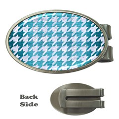 Houndstooth1 White Marble & Teal Brushed Metal Money Clips (oval)