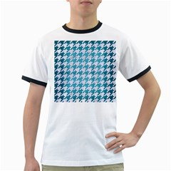 Houndstooth1 White Marble & Teal Brushed Metal Ringer T Shirts