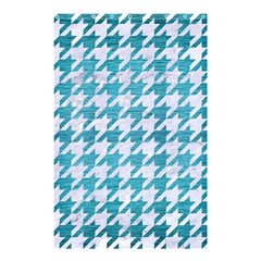 Houndstooth1 White Marble & Teal Brushed Metal Shower Curtain 48  X 72  (small)