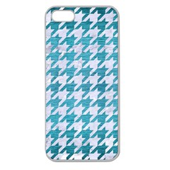 Houndstooth1 White Marble & Teal Brushed Metal Apple Seamless Iphone 5 Case (clear)