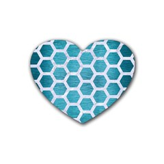 Hexagon2 White Marble & Teal Brushed Metal Rubber Coaster (heart)