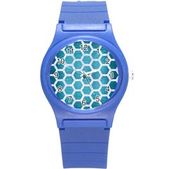 Hexagon2 White Marble & Teal Brushed Metal Round Plastic Sport Watch (s)