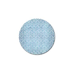 Hexagon1 White Marble & Teal Brushed Metal (r) Golf Ball Marker