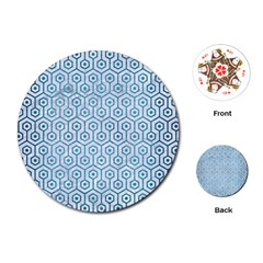 Hexagon1 White Marble & Teal Brushed Metal (r) Playing Cards (round)