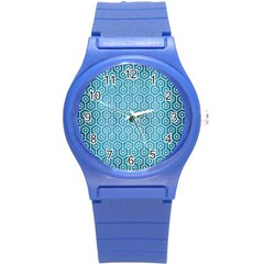 Hexagon1 White Marble & Teal Brushed Metal Round Plastic Sport Watch (s)