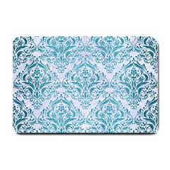 Damask1 White Marble & Teal Brushed Metal (r) Small Doormat