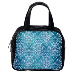 Damask1 White Marble & Teal Brushed Metal Classic Handbags (one Side)