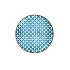 Circles3 White Marble & Teal Brushed Metal (r) Hat Clip Ball Marker (4 Pack)