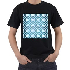 Circles3 White Marble & Teal Brushed Metal Men s T Shirt (black)