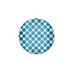 Circles2 White Marble & Teal Brushed Metal (r) Golf Ball Marker