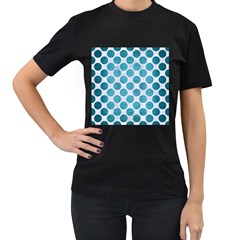 Circles2 White Marble & Teal Brushed Metal (r) Women s T Shirt (black) (two Sided)