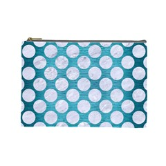 Circles2 White Marble & Teal Brushed Metal Cosmetic Bag (large)