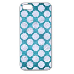 Circles2 White Marble & Teal Brushed Metal Apple Seamless Iphone 5 Case (clear)