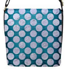 Circles2 White Marble & Teal Brushed Metal Flap Messenger Bag (s)