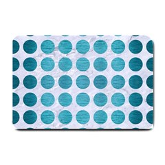 Circles1 White Marble & Teal Brushed Metal (r) Small Doormat