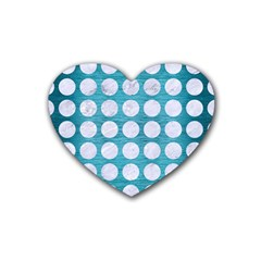 Circles1 White Marble & Teal Brushed Metal Rubber Coaster (heart)