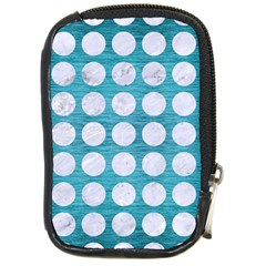 Circles1 White Marble & Teal Brushed Metal Compact Camera Cases
