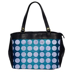 Circles1 White Marble & Teal Brushed Metal Office Handbags