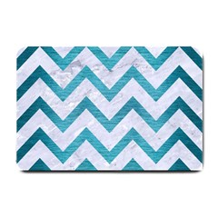 Chevron9 White Marble & Teal Brushed Metal (r) Small Doormat