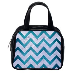 Chevron9 White Marble & Teal Brushed Metal (r) Classic Handbags (one Side)