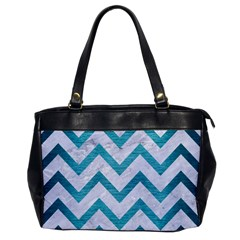 Chevron9 White Marble & Teal Brushed Metal (r) Office Handbags